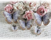 The Vintage Butterfly Set with Vintage Glass for Scrapbooking or Cardmaking