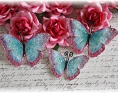 The Vintage Butterfly Set 2 with Vintage Glass for Scrapbooking, Cardmaking, Mixed Media, Tag Art, Wedding, Mini Album