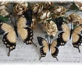 Sepia Glitter Glass Butterfly Die Cut Embellishments for Scrapbooking, Cardmaking, Tag Art, Mini Album, Wedding