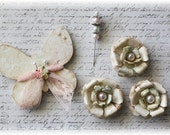 Shabby Dreams  Butterfly, Flower and Stick Pin Embellishment for Scrapbooking, Cardmaking, Altered Art, Mixed Media
