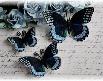 Navy Blue Butterfly Die Cut Embellishments for Scrapbooking, Cardmaking, Tag Art, Wedding, Mixed Media, Mini Album