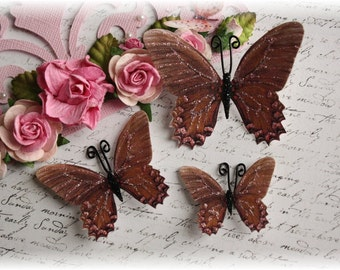 Brown Sugar Butterfly Embellishments for Scrapbooking, Cardmaking, Tag Art, Mixed Media, Tag Art, Mini Album