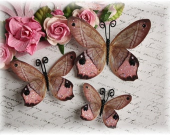 Tickled Pink Butterfly Embellishment Die Cuts for Scrapbooking, Carmaking, Tag Art, Mini Album