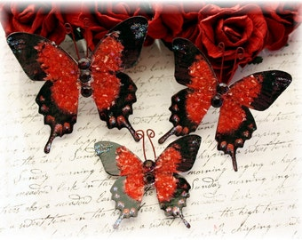 Miss Scarlett Glitter Glass Butterfly Die Cut Embellishments for Scrapbooking,Cardmaking, Mixed Media, Tag Art, Mini Album