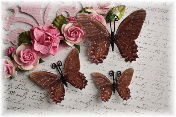 Brown Sugar Butterflies for Scrapbooking, Cardmaking, Tag Art, Mixed Media, Wedding, Mini Album