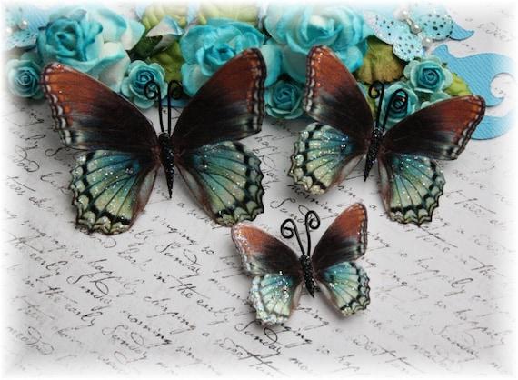 Sea Foam Butterfly Embellishments for Scrapbooking, Cardmaking, Mixed Media, Wedding, Tag Art, Mini Album
