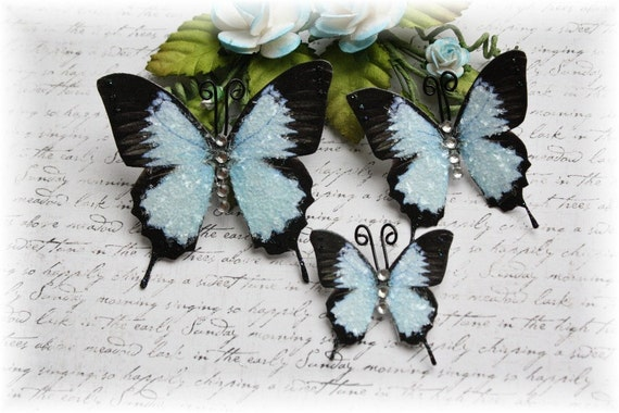 Baby Blue Glass Butterflies for Scrapbooking ,Cardmaking, lLtered Art, Tag Art, Mini Album