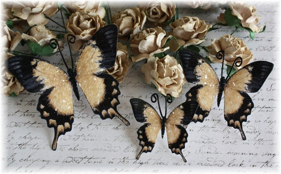 Sepia Glitter Glass Butterflies for Scrapbooking, Cardmaking, Tag Art, Mini Album, Wedding