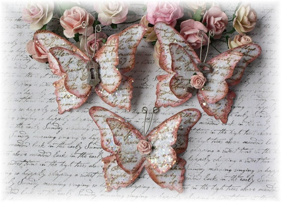 Vintage Chic Script Shabby Handmade Butterflies for Scrapbooking, Altered Art, Cardmaking, Mixed Media