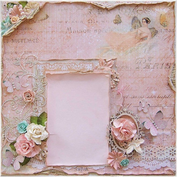Shabby Chic Premade 12 x 12 Scrapbook Layout,  Prima, Dusty Attic