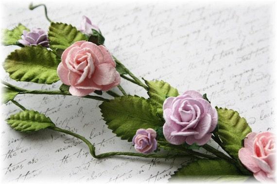 Lavender and Pink Rose Vine for Scrapbooking