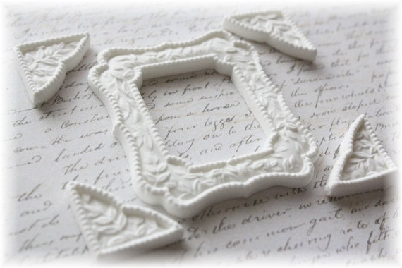 Victorian Square Frame and Fancy Corner Clay Embellishment Set