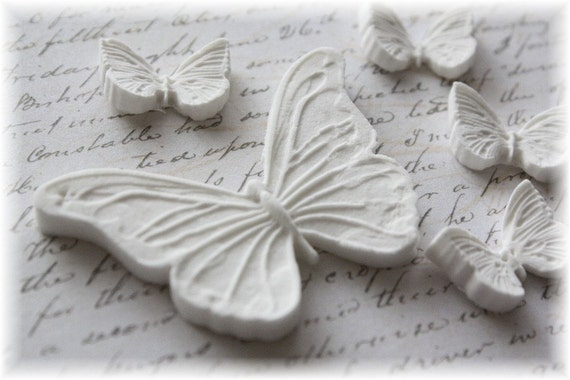 Shabby Chic Butterfly Clay Embellishment Set for Scrapbooking, Tags, Mini Albums, Altered Art,Cardmaking