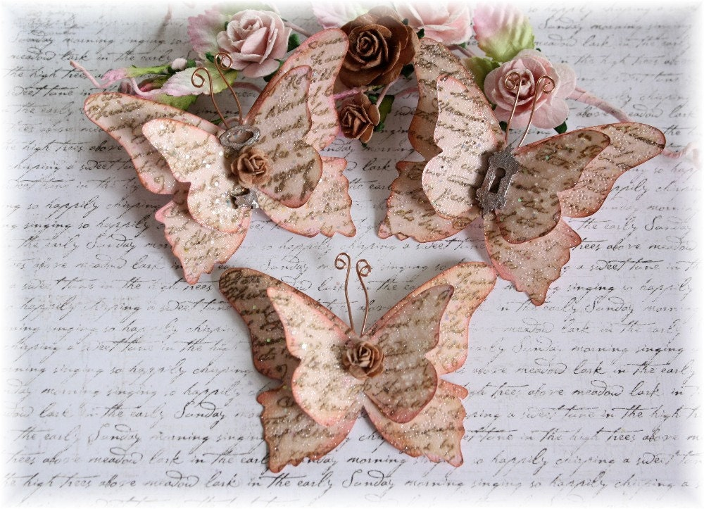 Vintage Script Shabby Handmade Butterflies For Scrapbooking