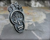 RESERVED  Sterling Silver sugar skull ring
