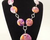 RESERVED FOR rae1706 - Purple and Bronze Polymer Clay Lentil Necklace and Bracelet