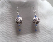 Blue Butterfly Bead Polymer Clay Bead Earrings