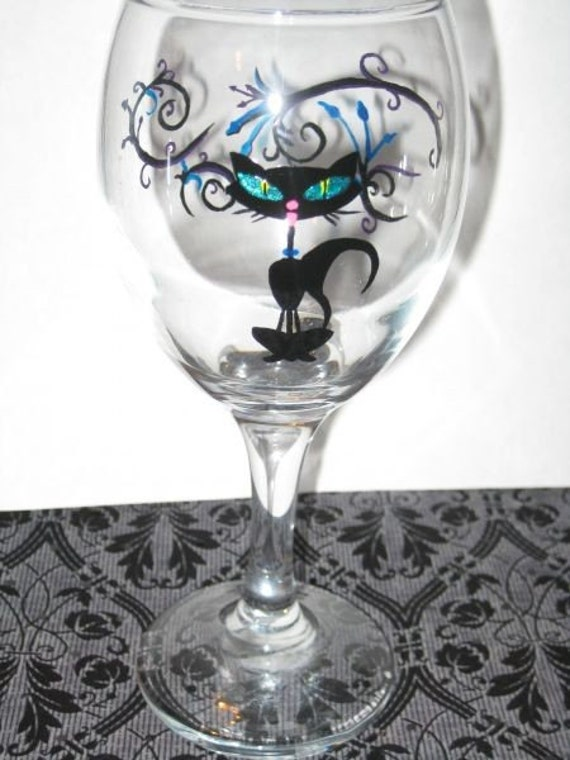Rockabilly Lucky Black Cat Hand Painted Wine Glass By Winoart