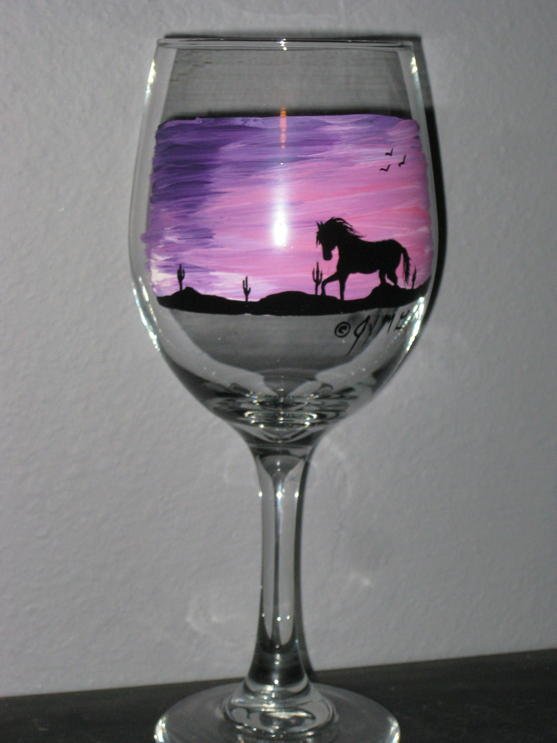 Hand painted purple sunset horse wine glass for Hand painted wine glasses