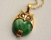 The Vintage Green Mod Owl Necklace