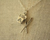 RESERVED - Chinese Takeout Charm Necklace, Chopsticks and Box Pendant, Sterling Silver Chain, Asian Food Theme, Kitsch