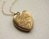 The Engraved Letter JM 12kt Gold Filled Heart Locket-VINTAGE