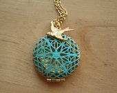 Blue Floral Locket Necklace, Pendent Necklace, Long Gold Filigree Necklace Locket, Turquoise Pendant, Gold Bird Charm, Round Locket