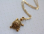 Turtle Pendant Necklace, 14kt Gold Filled Chain, Small Reptile Charm, Antiqued Gold Jewelry