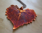 Copper Cottonwood Large Leaf Pendant Necklace, Red Heart Leaf Jewelry, Nature Jewelry, Extra Long Necklace Chain, Leaf Necklace