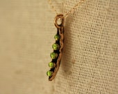 Green Peas Necklace, Vegetable Pea Pod Necklace, Layering Jewelry, Delicate Necklace Pea Pod, Gold Layering Necklace Mother's Necklace