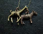 Giraffe and Zebra Charm Necklace, Safari Pendants, Zoo Necklace, Jewelry, Long Chain, Antiqued Brass and Copper Animals