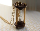 Wooden and Brass Hourglass Necklace, Unique Pendant, Vintage Style, Long Gold Chain