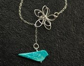 Flower Lariat with Turquoise Bue Bird, Bridal Pendant Necklace, Bridesmaids, 3d Metal Flower, Floral Bird Jewelry, Fashion