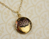 Small Owl Locket, Owl Necklace, Yellow and Gold Owl Jewelry, Colorful Image Transfer, Owl, Gold Necklace