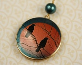 SALE - Black Birds Locket Necklace, Long Blue and Red Pendant, Large Image, Faux Pearl Bead, Tree Branch, Autumn Sunset Fashion Jewelry