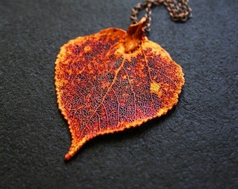 Long Red Leaf Necklace, Aspen Leaf Pendant, Red Pendant, Leaf Jewelry, Long Leaf Necklace, Red Jewelry, Copper Pendant, Heart Necklace