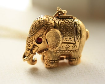 Vintage Elephant Locket, Long Necklace Gold Elephant, Red Eyes, Circus Animal Locket, Antique Elephant Jewelry, Pill Box Necklace