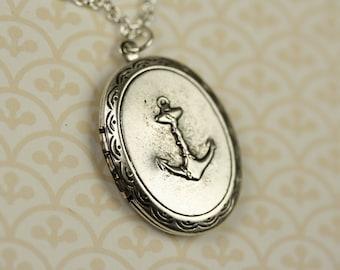 Long Anchor Locket Necklace, Vintage Nautical Anchor Pendant, Silver Necklace Pendent, Silver Jewelry Anchor Necklace