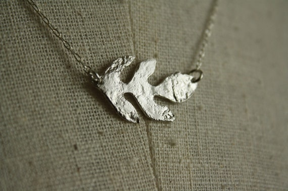 Little Silver Leaf Necklace, Simple Charm Pendant, Small