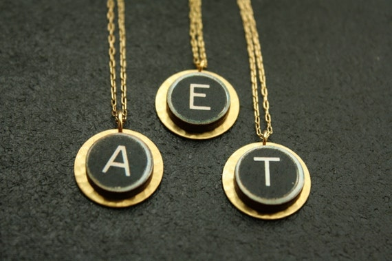 Typewriter Personalized Letter Necklace, Initial Necklace, Black and White Pendant, Wood Pendant Necklace, Hammered Gold Jewelry