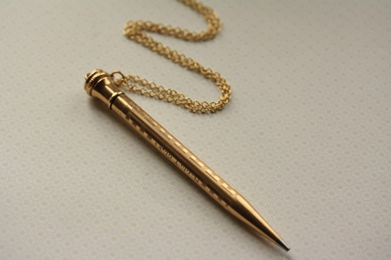 The Vintage Gold Filled Pencil Necklace