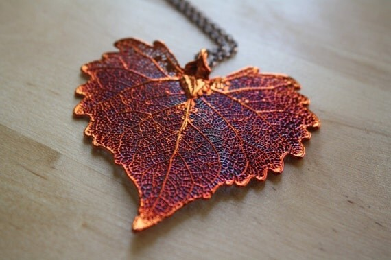 Dipped Copper Cottonwood Large Leaf Pendant Necklace, Red Heart Leaf Jewelry, Nature Jewelry, Extra Long Necklace Chain, Leaf Necklace