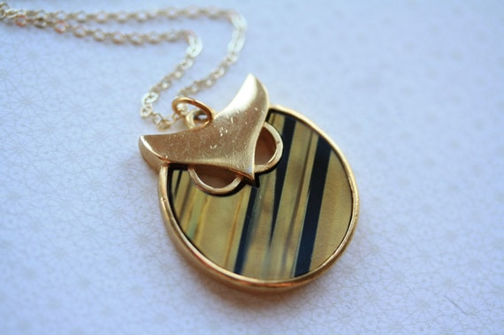 Vintage Tiger's Eye Trifari Owl Necklace on a 14kt Gold Chain