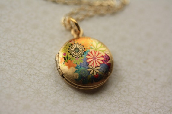 RESERVED - Colorful Flowers Locket, No Chain