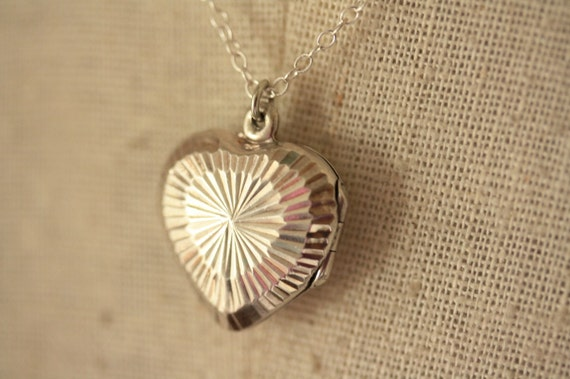 RESERVED with LONGER chain and priority shipping - Vintage Sterling Silver Sunburst Heart Locket Necklace
