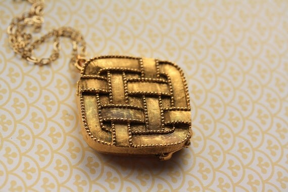 Thatched Gold Locket Necklace, Long Chain, Vintage Basketweave Pendant, Perfume Jewelry, Upcycled Perfume Carrier, Lattice Design