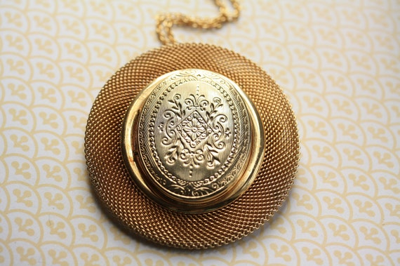 Ornate Mesh Locket Pendant, Long Gold Chain, Crest Floral Design, Large Necklace, Vintage Brooch Duo