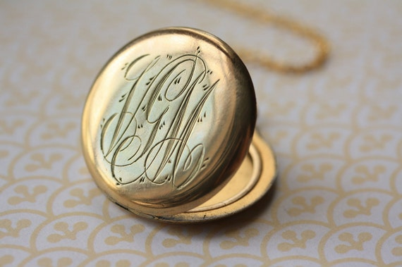 Antique Gold Filled Monogram Locket, Letters V G M Pendant, Vintage Necklace, Old Jewelry, Removable Photo Frames