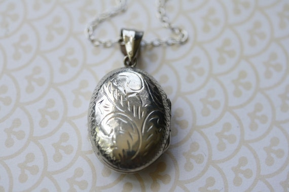 RESERVED on longer Chain - Silver Floral Locket on Sterling Chain, Vintage Pendant, Simple and Understated Flower Jewelry