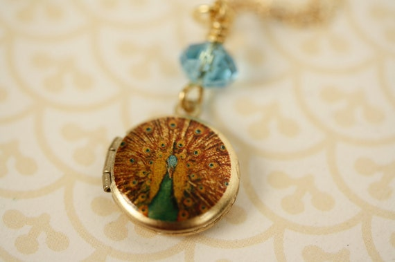 Miniature Peacock Locket, Feather Pendant, Small Photo Necklace, Blue Jewelry, 14kt Gold Filled Chain, Turquoise and Dark Yellow Fashion